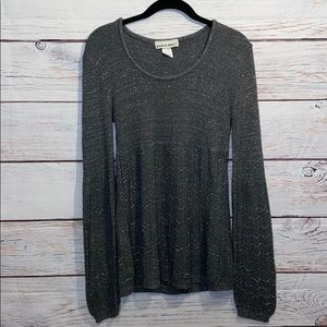 Long Sleeve Grey and Silver Knit Sweater Medium